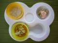 [離乳食]白菜がゆ、かぼちゃとたい、バナナのヨーグルト和え