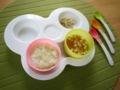 [離乳食]キャベツがゆ、豆腐とにんじんと大根のとろ煮、バナナ