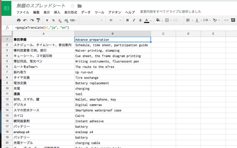 Googleスプレッドシートでまとめて翻訳する - ちか☆メモ - CHIKA MEMO