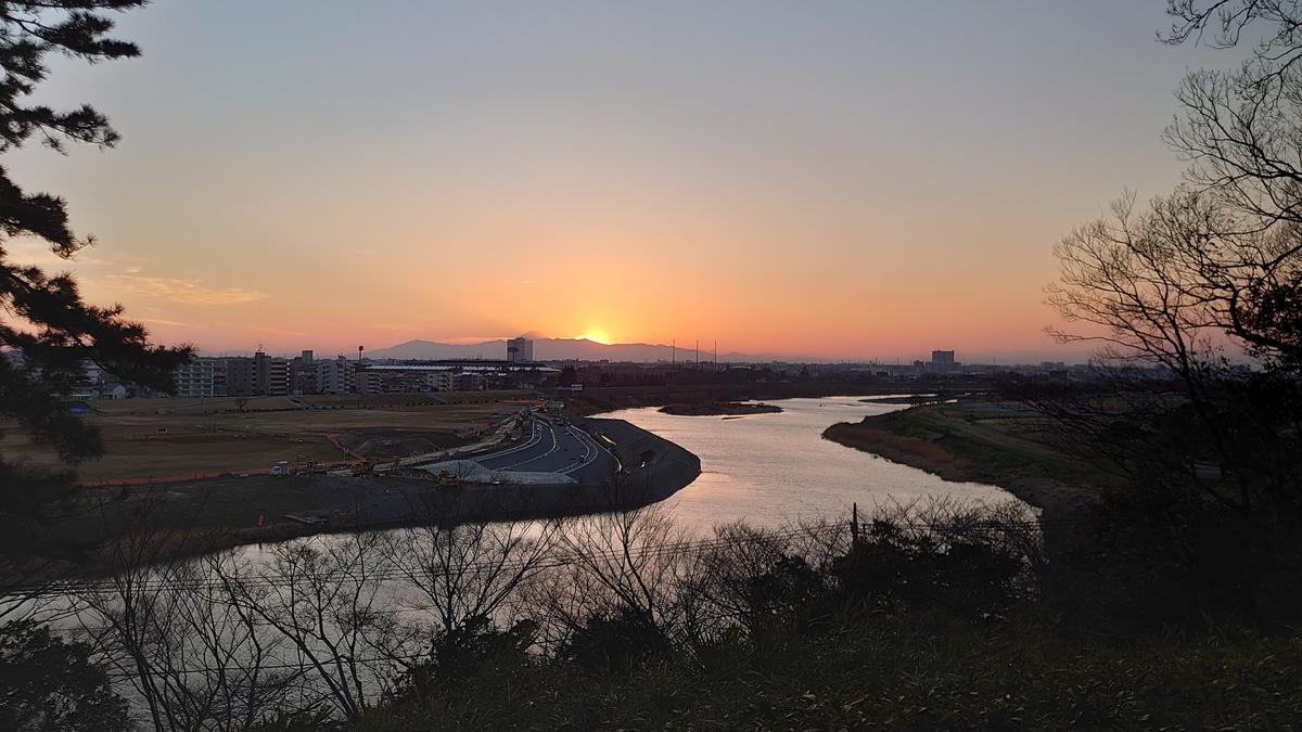 多摩川と夕日