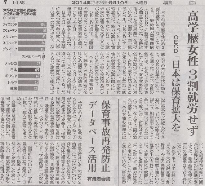 平等体制浸透してんの寒い国ばっかしだね 2014年9月10日朝日朝刊