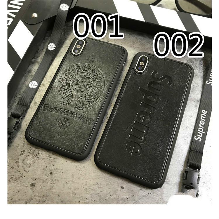 クロムハーツiPhone XR/XS/8plusケース革製型押し革