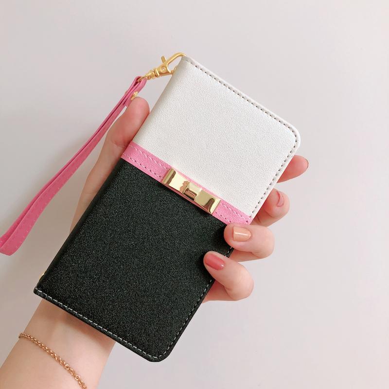 手帳型iPhone XS/iPhone Pro/11携帯カバー ミラー付き蝶結び
