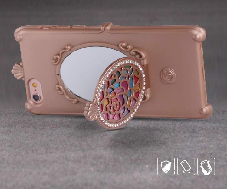 可愛いピンクiPhone XS/iPhone Pro Max/11R携帯カバー ミラー付き