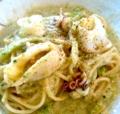 Squid Pasta With Cod Roe And Boccoli Cream Sauce