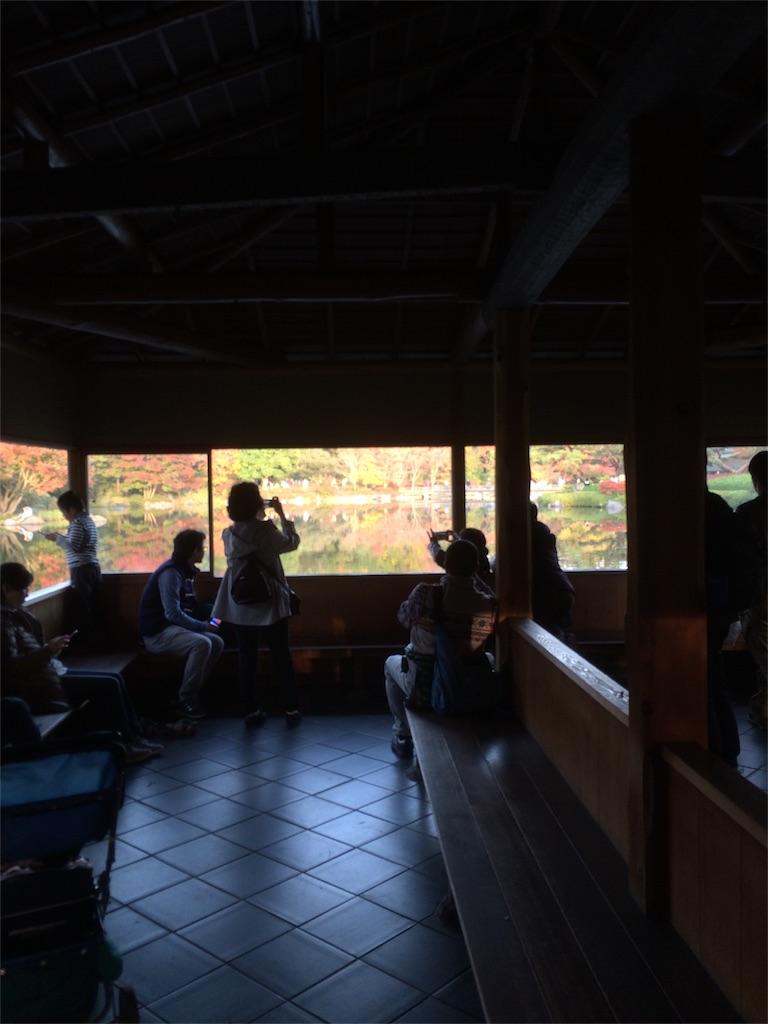 昭和記念公園 紅葉 池の反射