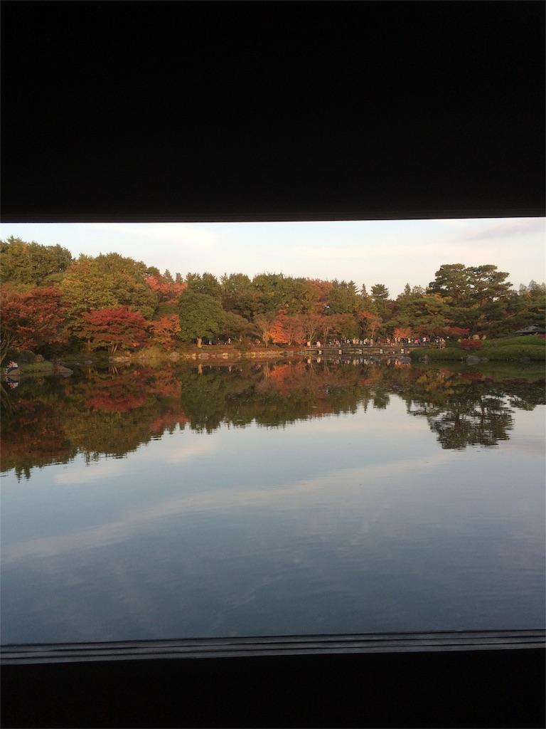 昭和記念公園 紅葉 池の反射2