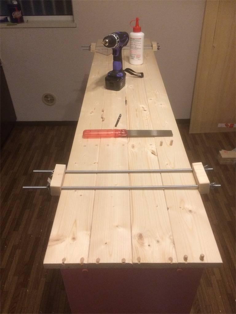 DIY カウンターキッチン 天板製作2
