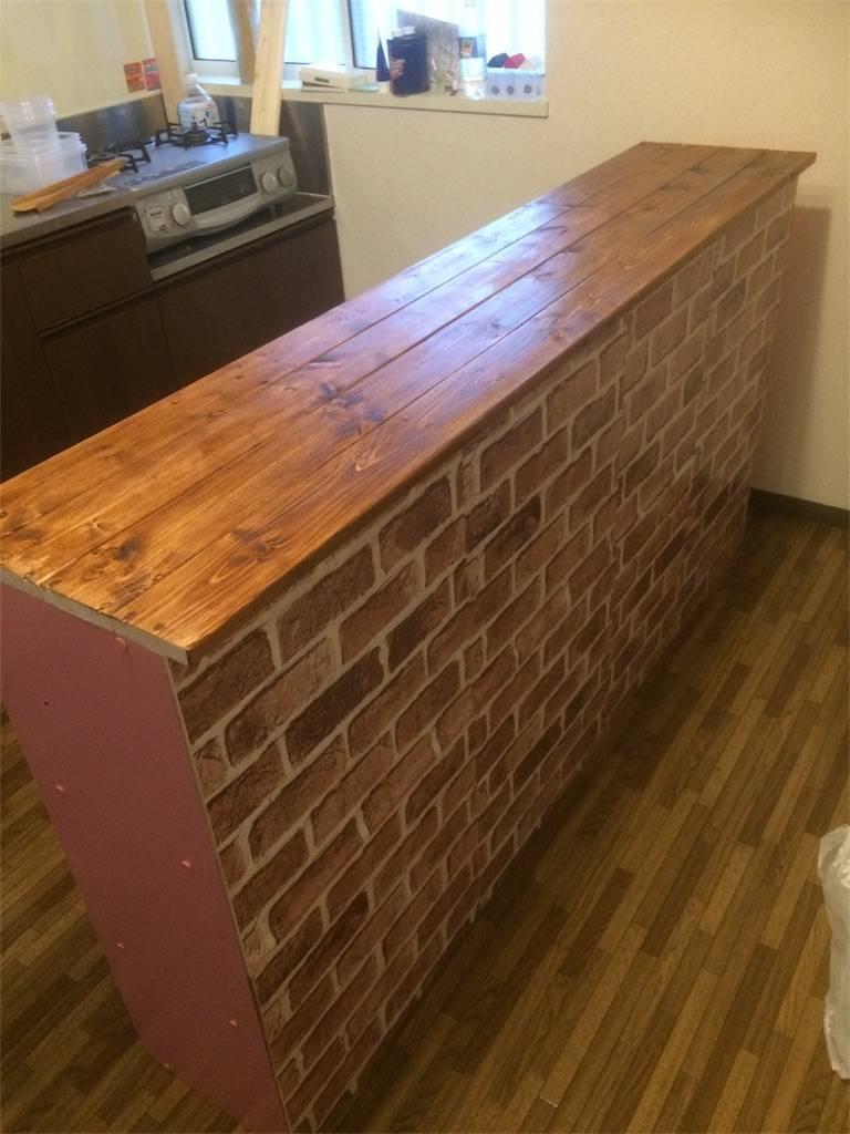 DIY カウンターキッチン 天板塗装