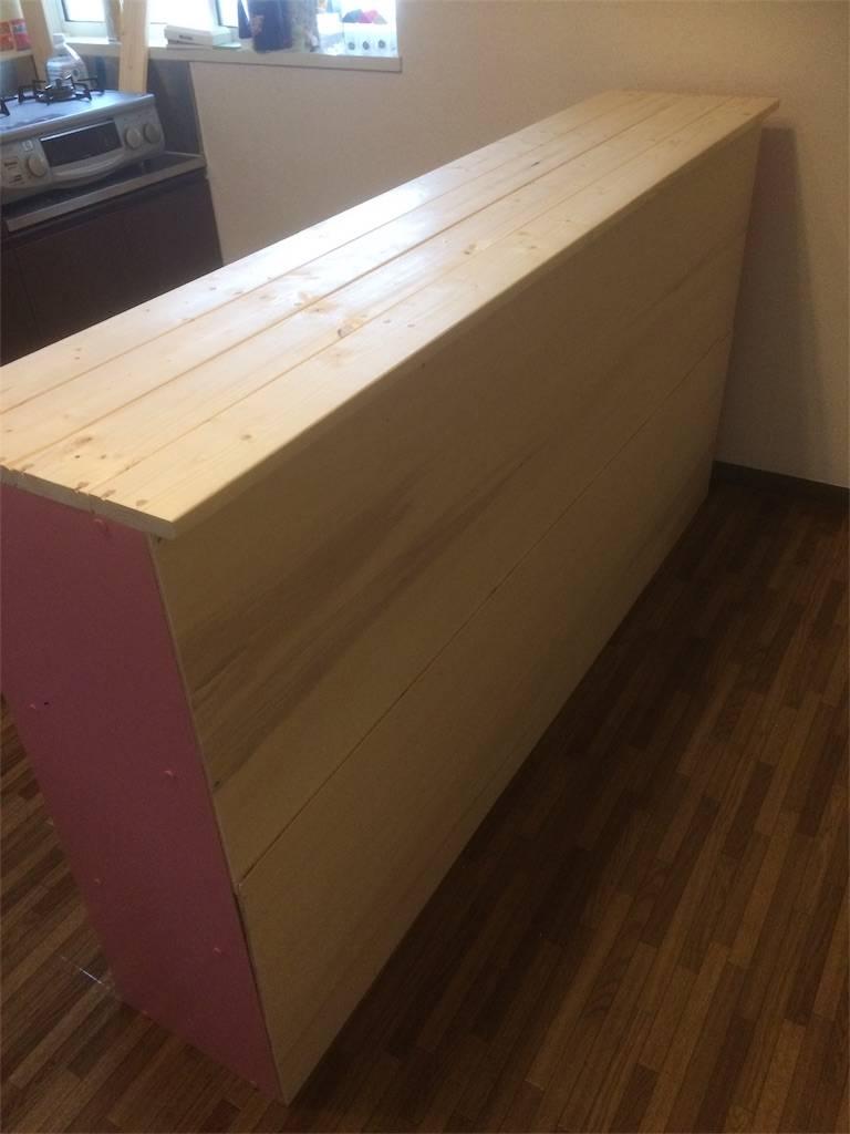 DIY カウンターキッチン 背面を合板