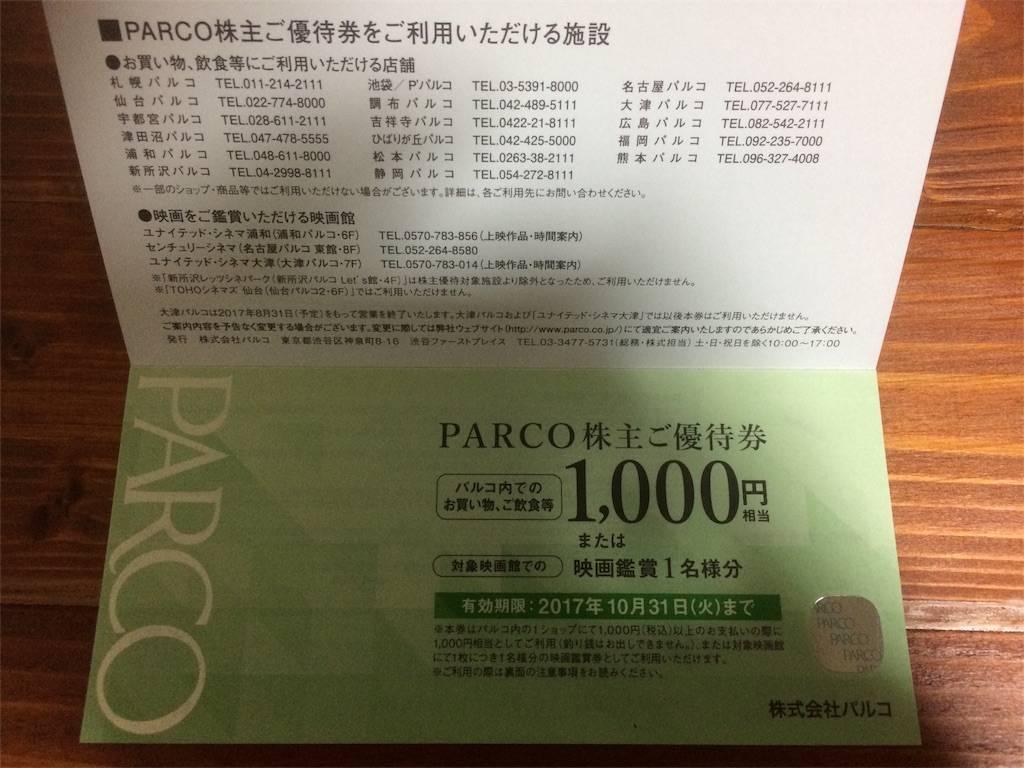 株主優待 パルコ 映画観賞券 商品券