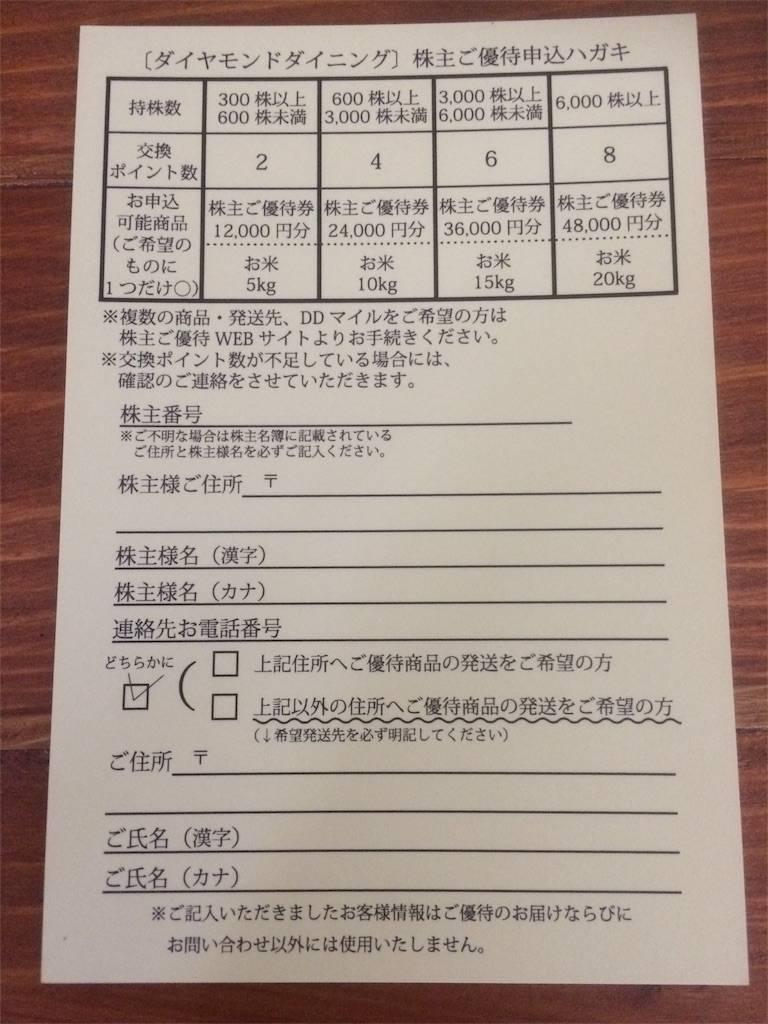 株主優待 ダイヤモンドダイニング 交換一覧