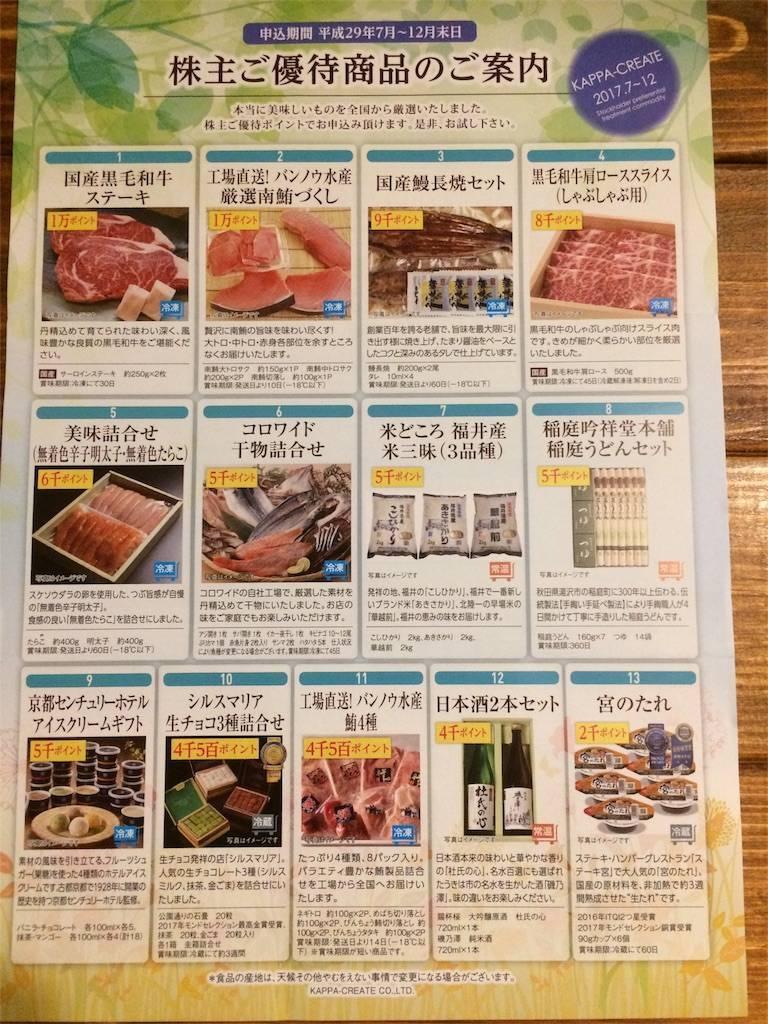 株主優待 カッパ・クリエイト 交換カタログ