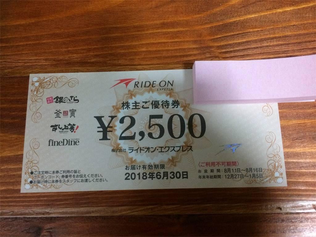 株主優待 ライドオン・エクスプレス お食事券
