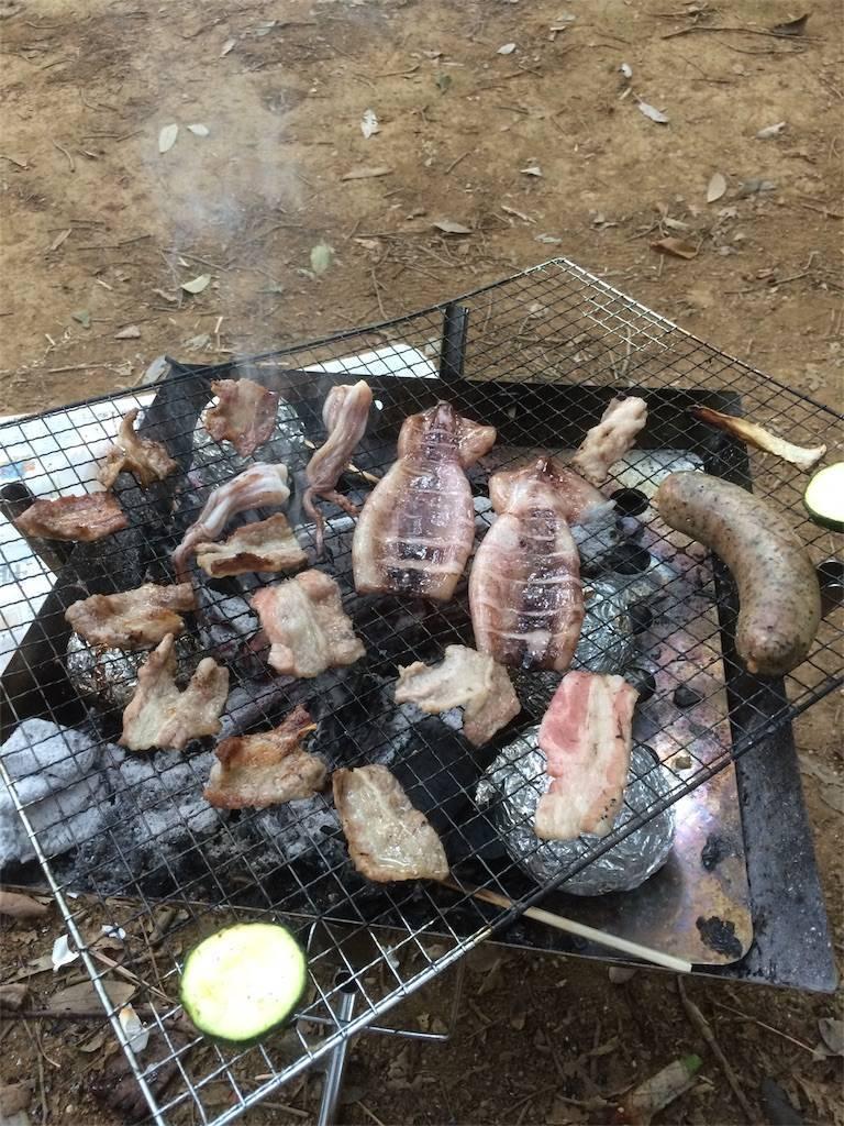 フォンテーヌの森 キャンプ BBQ イカ焼き