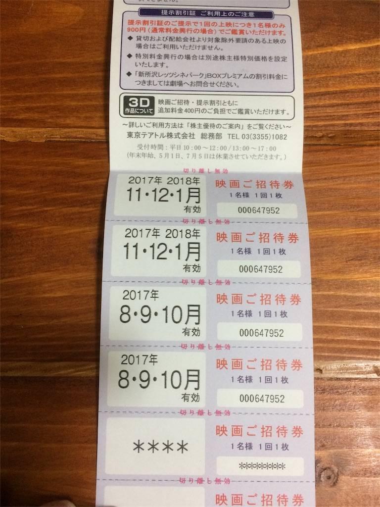 株主優待 東京テアトル 映画招待券