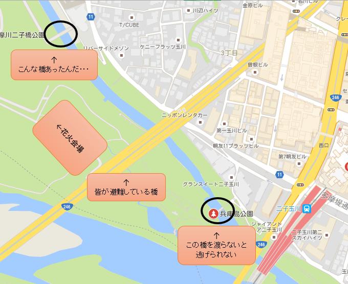 世田谷区 たまがわ花火大会 避難図