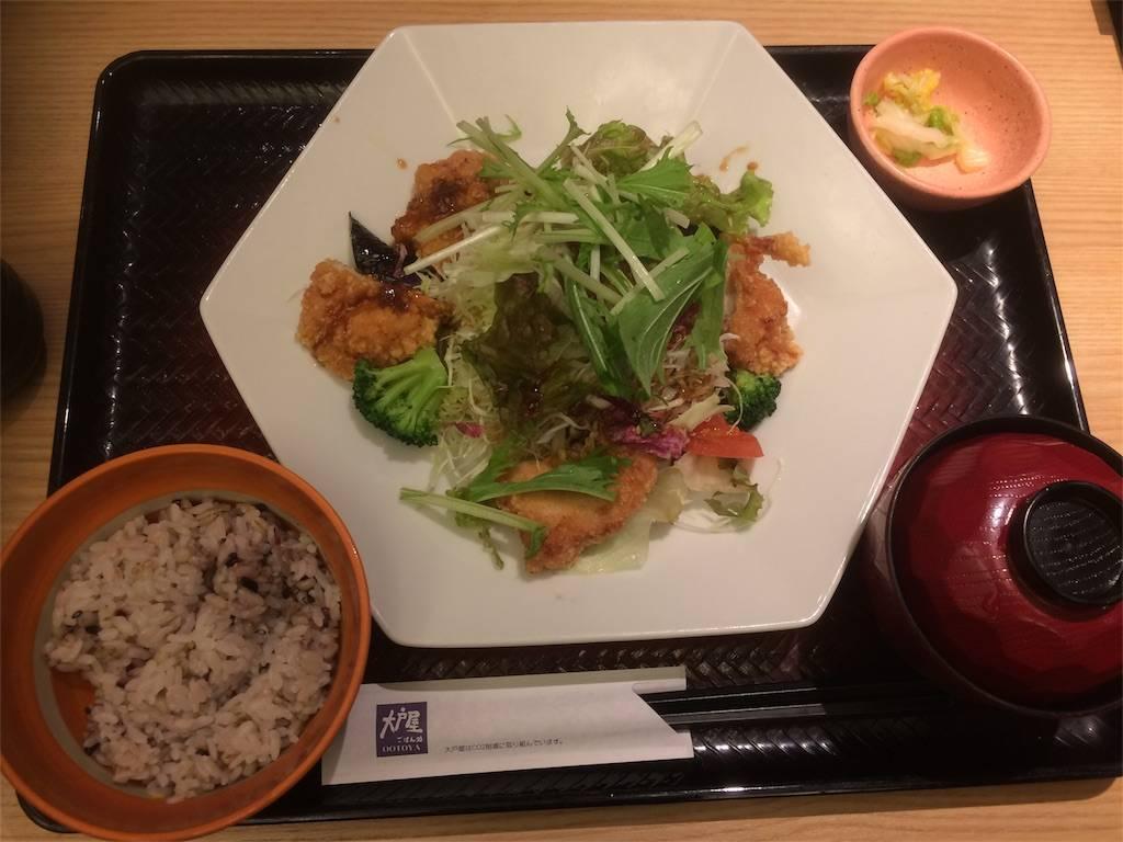 株主優待 大戸屋 ランチ 鶏むね肉とたっぷり野菜の香辛だれ定食