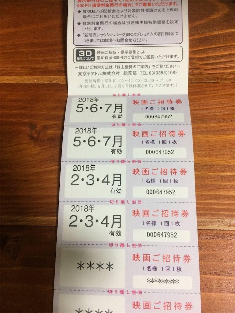 株主優待 東京テアトル 映画観賞券