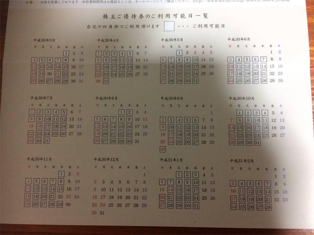 株主優待 きちり 使用日カレンダー