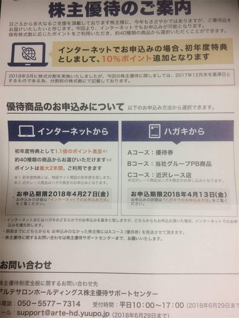 株主優待 アルテサロン ネットギフト 2018年