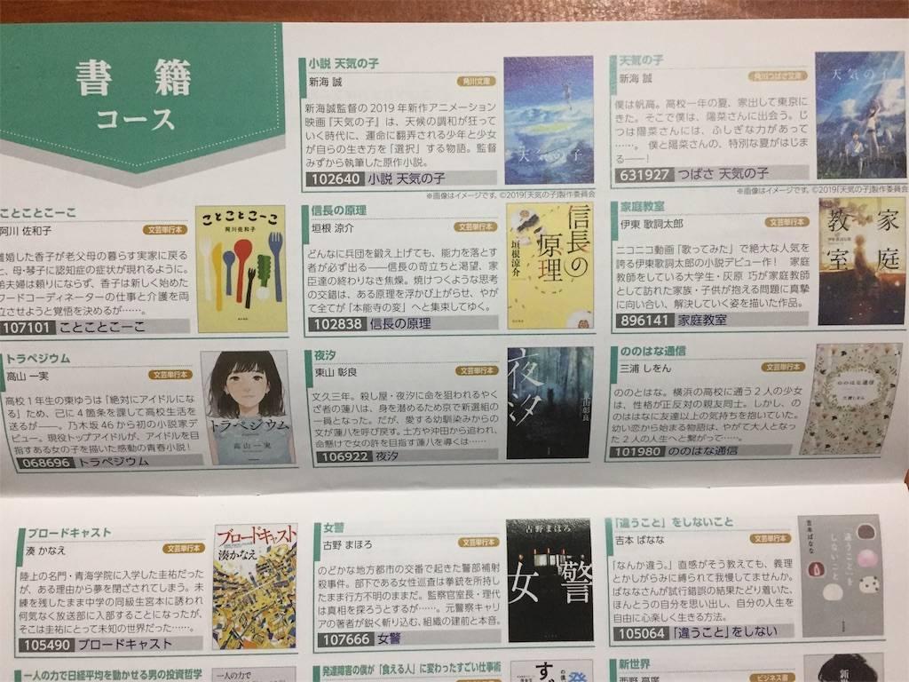 株主優待 カドカワ 書籍一覧 2019年