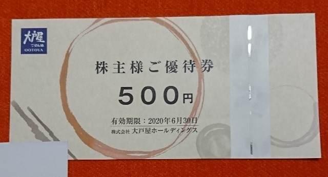 大戸屋HD アンケート調査 500円券
