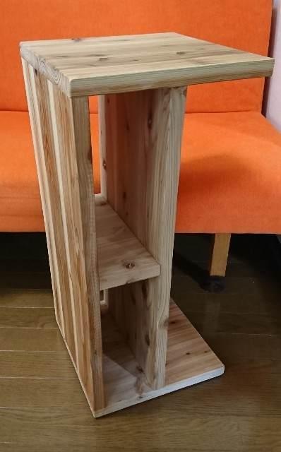 DIY サイドテーブル 杉ムクボード