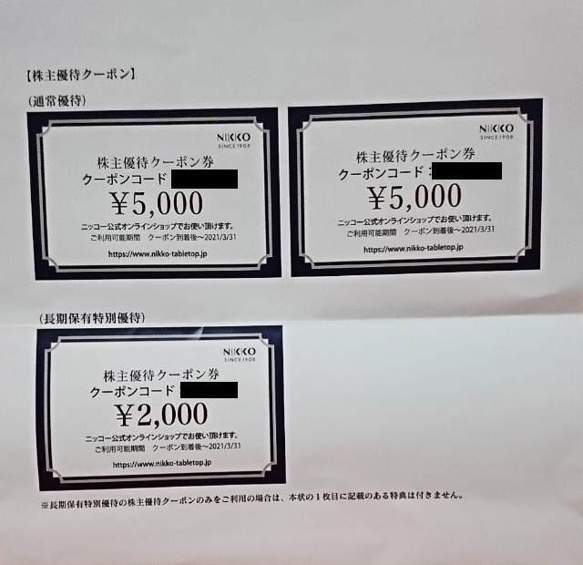 ニッコー 株主優待 お買物券 2020年