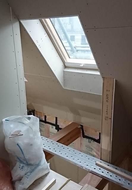 天窓 断熱材・石膏ボードの施工 比較画像