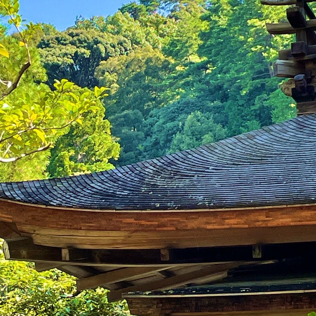 銀閣寺の杮葺き屋根