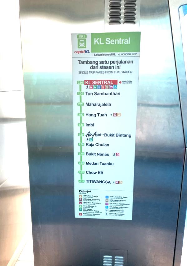 KLセントラル駅からモノレールでブキッビンタン駅