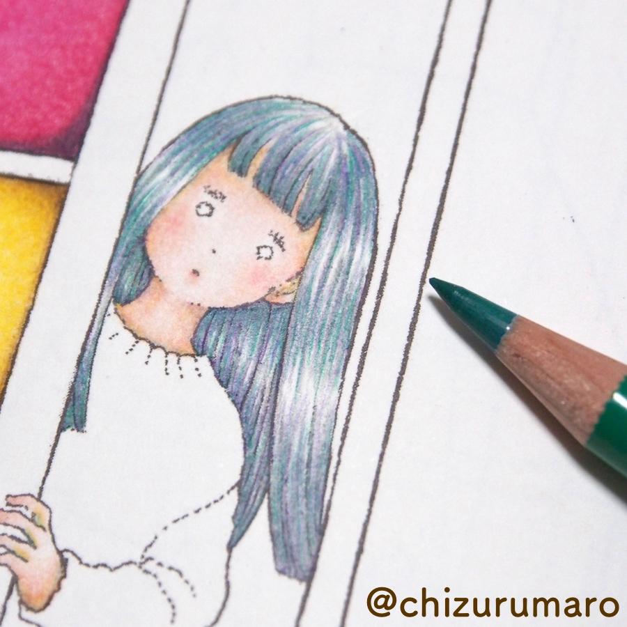 色鉛筆の黒色を使わないで黒髪を塗ってみた ちづるのもっと ぬりえライフ