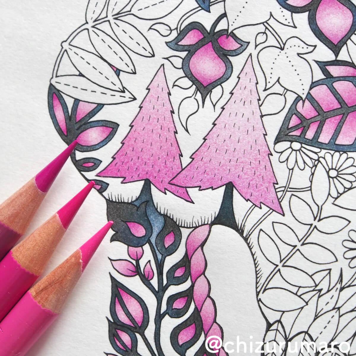 色鉛筆で作る同系色のグラデーションの塗り方 上から下方向へ ちづるのもっと ぬりえライフ