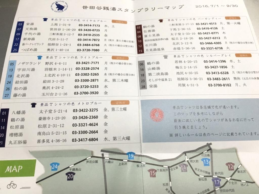 世田谷湯屋めぐり2016スタンプラリー台紙写真