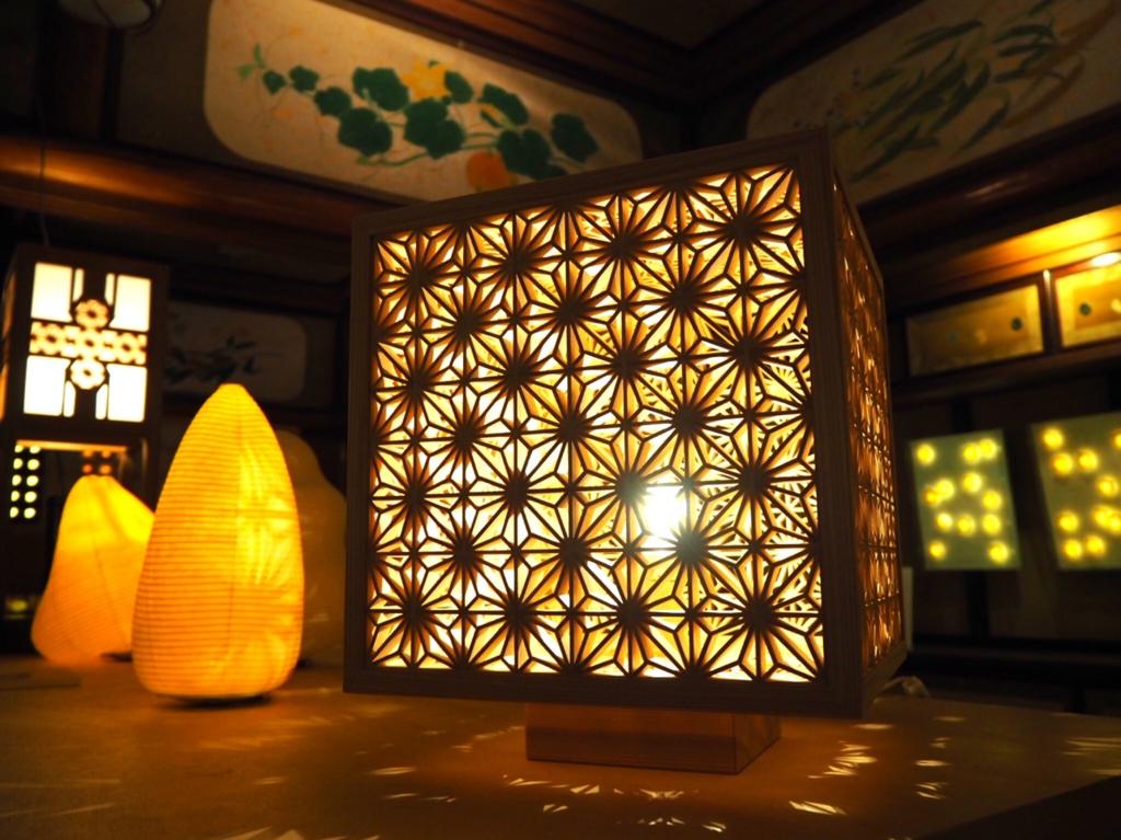星光の間・山川建具の展示「竜宮城の組子あかり」