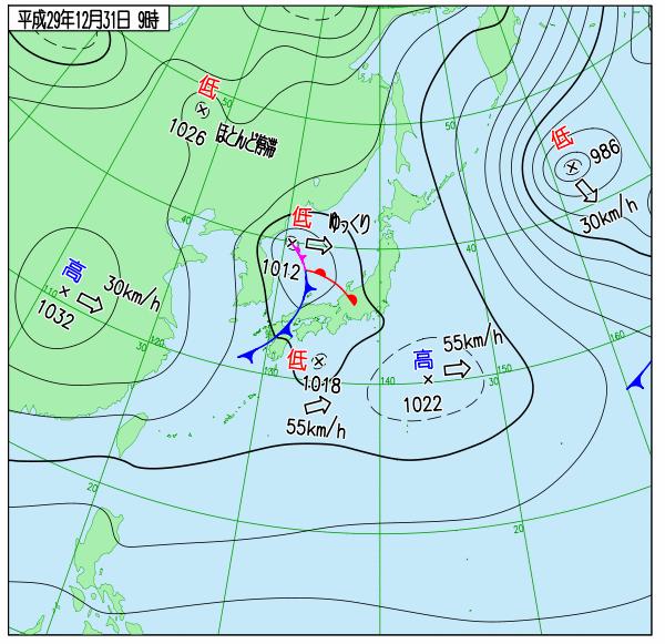 気象庁ホームページ 過去の天気図 2017年12月31日