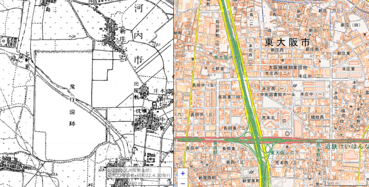 東大阪の盾津飛行場の地図
