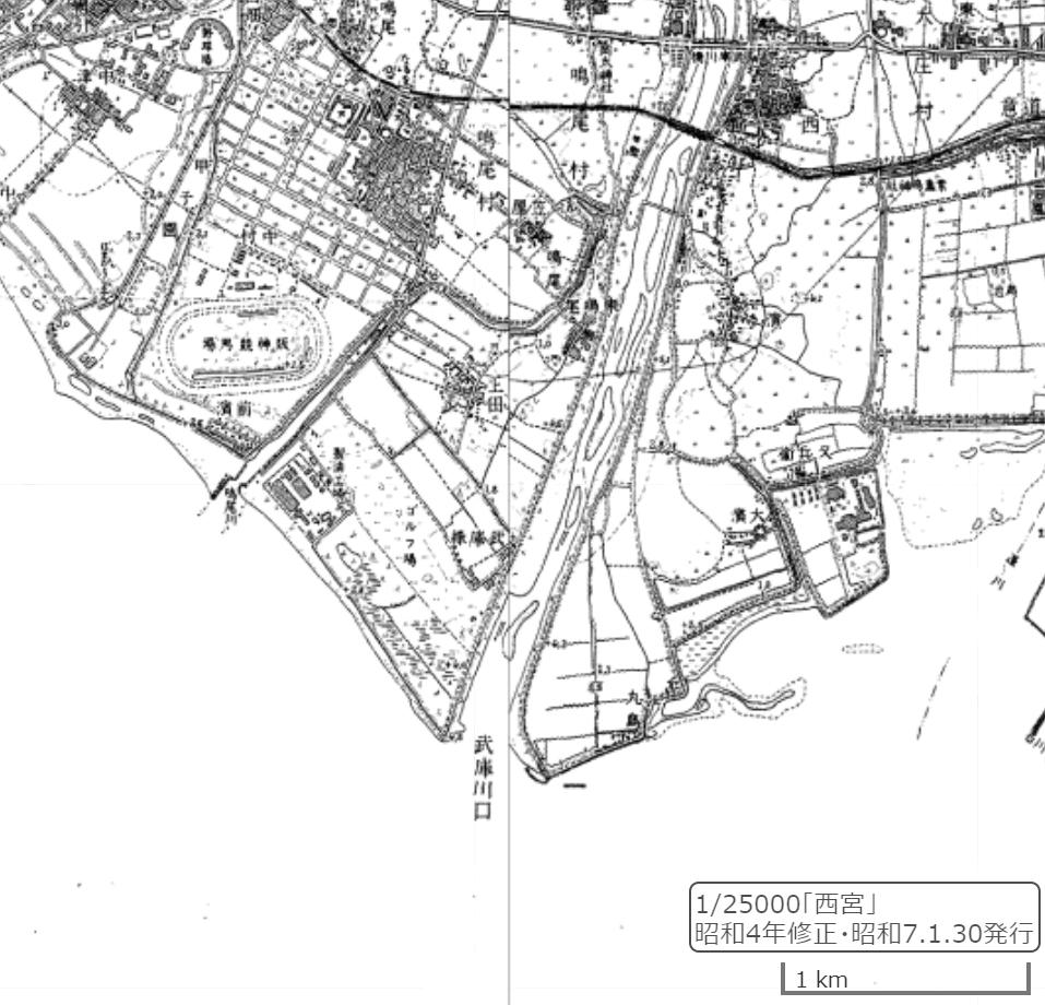 鳴尾付近の地図