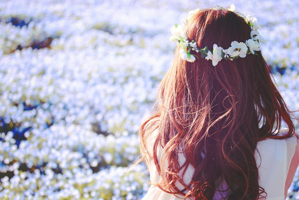 花畑と美人