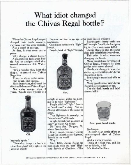 What idiot changed the Chivas Regal bottle?