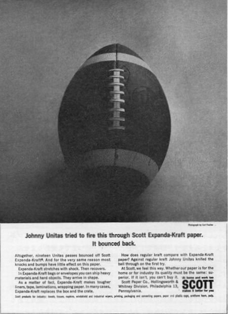 Johnny Unitas tried to fire this through Scott Expanda-Kraft paper.It bounced back.