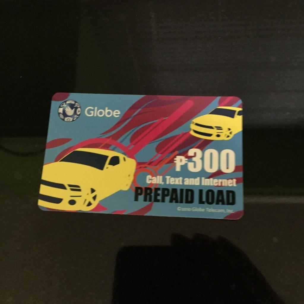 フィリピン globeのsimのプリペイドカード 300ペソ