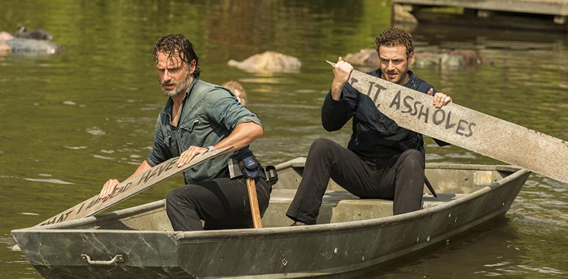 舟に乗るリックとアーロン