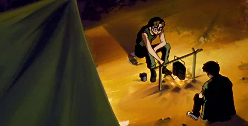 エヴァンゲリオンアニメ第4話 シンジと相田の焚き火