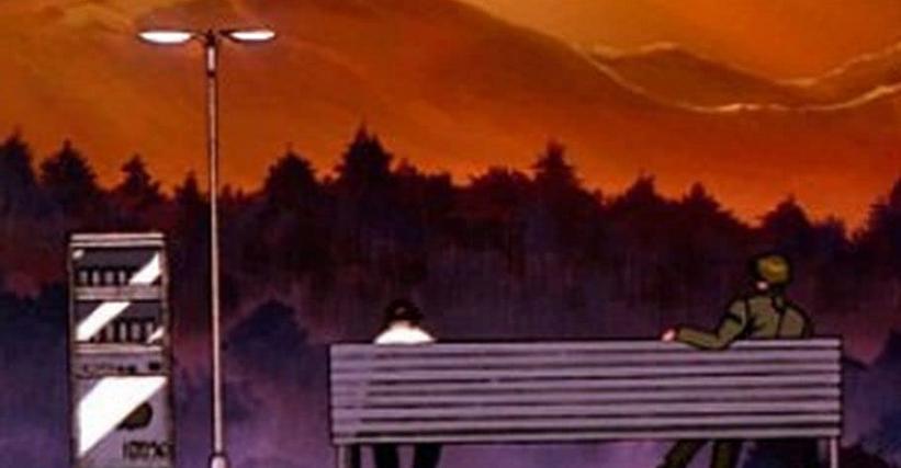 第17話『四人目の適格者』 ベンチで話をする加持とシンジ