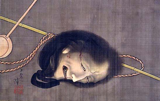「生首の図」葛飾北斎作