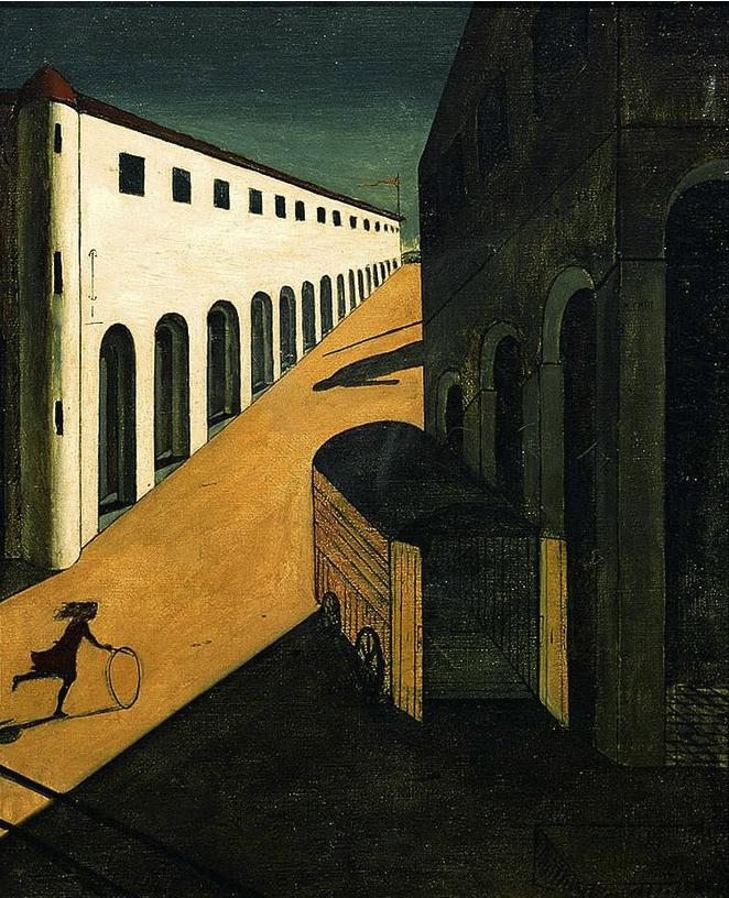 ジョルジョ・デ・キリコの絵画「通りの神秘と憂愁」1914年制作