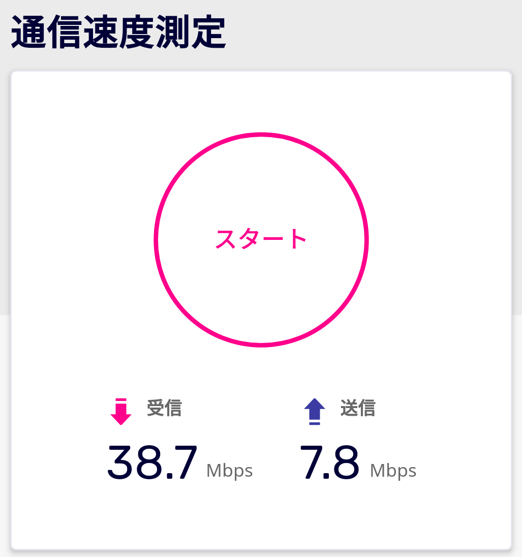 レストラン櫻内での速度計測(楽天回線)