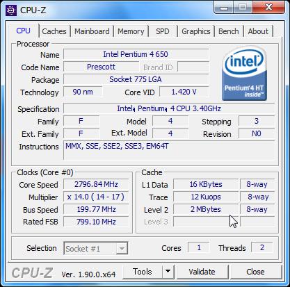 CPU-Z Pentium4 650